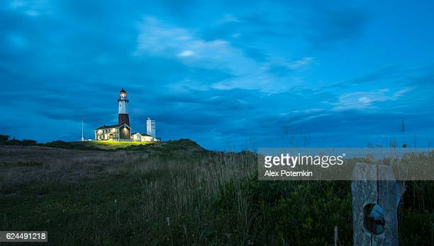 Montauk Point Lighthouse, sunset. Long Island, New York State, USA.