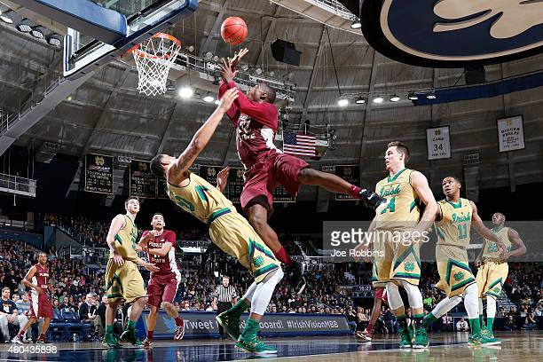 Montay Brandon of the Florida State Seminoles drives to the basket against Zach Auguste of the Notre Dame Fighting Irish during the game at Purcell...