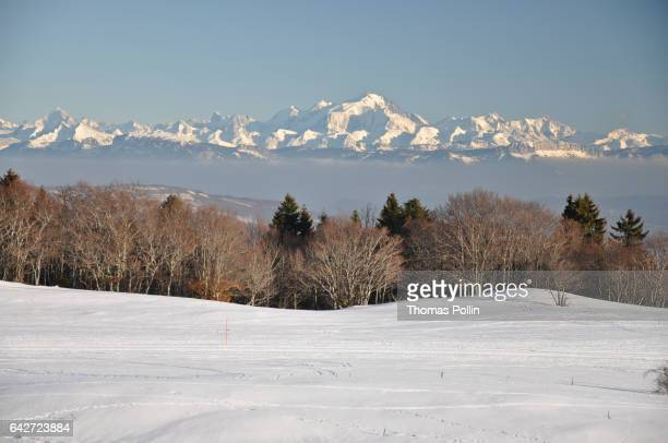 mont-blanc and alps winter view - grand colombier ain stock pictures, royalty-free photos & images