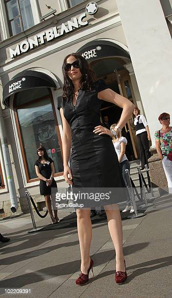 Montblanc brand ambassador Eva Green attends the reception during the Montblanc White Nights Festival at Montblanc Boutique on Nevsky Prospekt on...