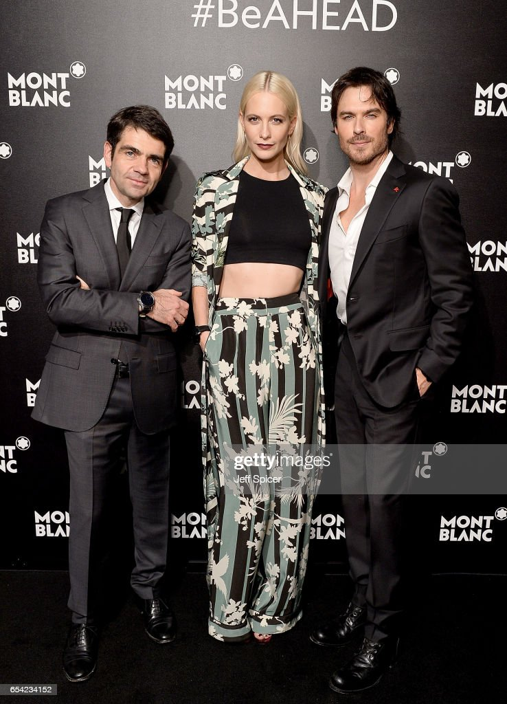 Montblanc CEO Jerome Lambert, Ian Sommerholder and Poppy Delevingne attend the Montblanc Summit launch event at The Ledenhall Building on March 16, 2017 in London, England.