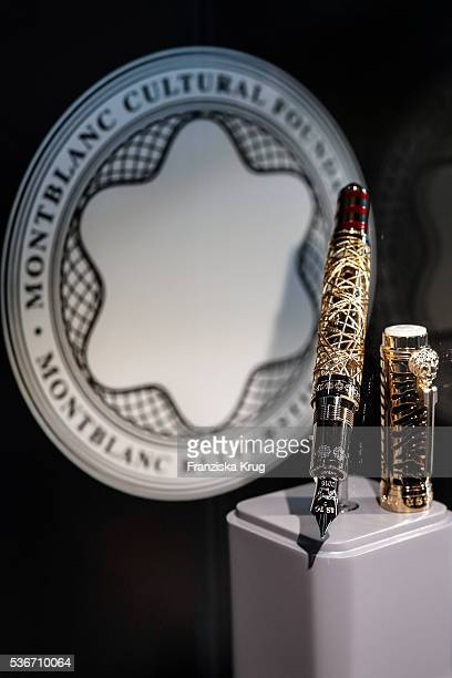 Montblanc fountain pen is displayed at the Montblanc De La Culture Arts Patronage Award 2016 at Historisches Pumpwerk on June 1, 2016 in Berlin,...
