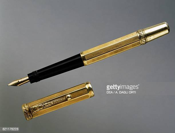 Montblanc fountain pen with retractable nib goldplated 1920s Germany 20th century Germany