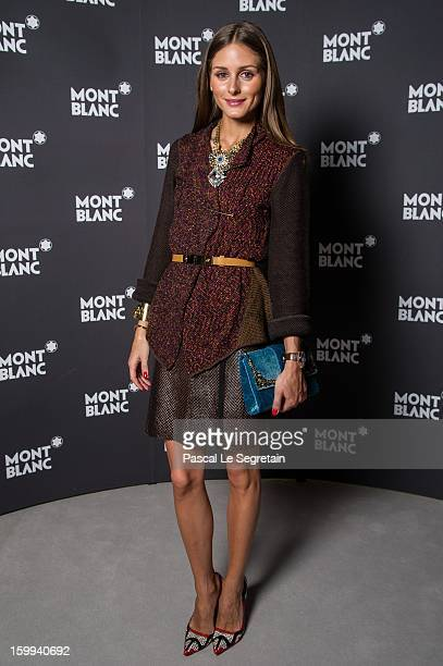 Montblanc friend of the brand Olivia Palermo visits the Montblanc booth during the SIHH 2013 at the Palexpo Geneva on January 23 2013 in Geneva...