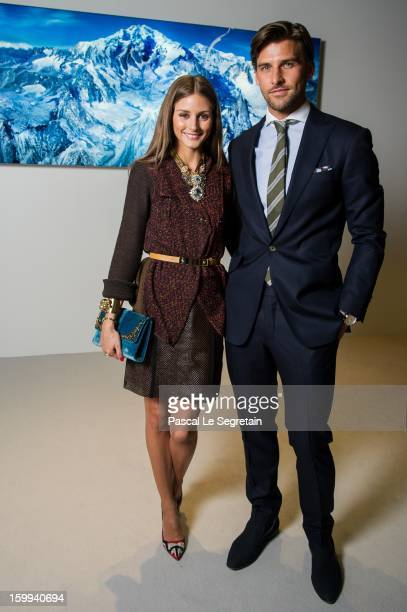 Montblanc friends of the brand Olivia Palermo and Johannes Huebl visit the Montblanc booth during the SIHH 2013 at the Palexpo Geneva on January 23...