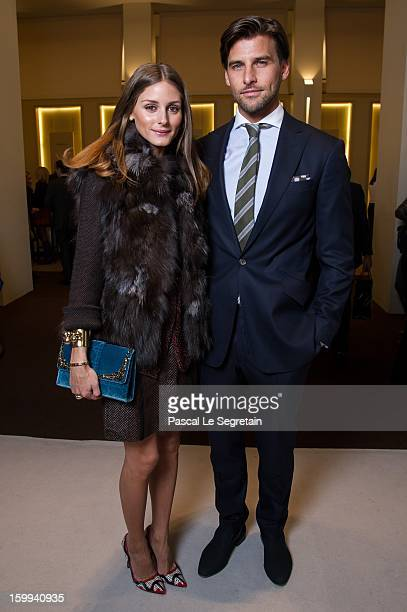 Montblanc friends of the brand Olivia Palermo and Johannes Huebl visit the Montblanc booth during the SIHH 2013 on January 23 2013 in Geneva...