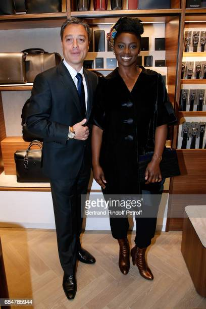 CEO Montblanc International Nicolas Baretzki and actress Aissa Maiga attend the Montblanc ChampsElysees Flagship Reopening on May 18 2017 in Paris...