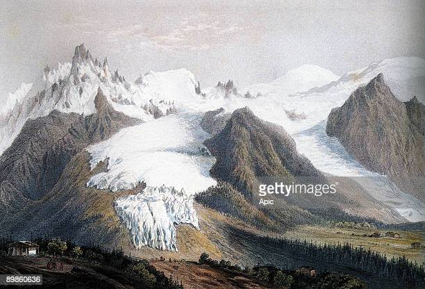 MontBlanc massif on l glacier des Bossons on r glacier du Taconnaz background MontBlanc engraving by IsidoreLaurent Deroy