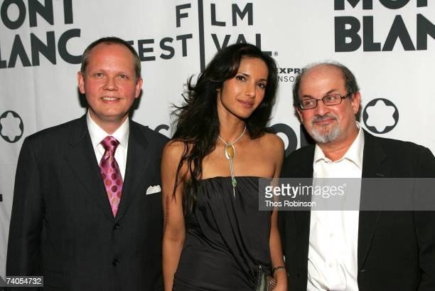 Montblanc North America President and CEO JanPatrick Schmitz television host Padma Lakshmi and author Salman Rushdie pose at The Montblanc De La...