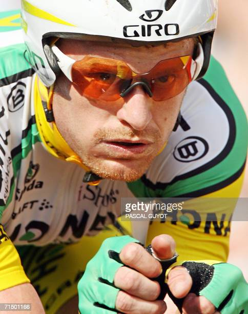 Montceau-les-Mines, FRANCE: USA's Floyd Landis rides after crossing the finish line of the 19th stage of the 93rd Tour de France cycling race, a 57...