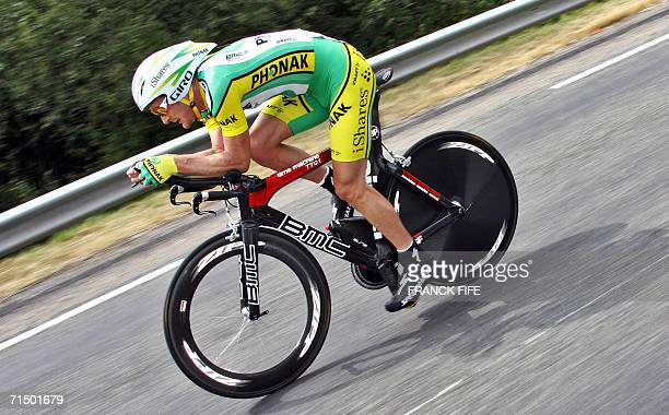 Montceau-les-Mines, FRANCE: USA's Floyd Landis rides during the 19th stage of the 93rd Tour de France cycling race, a 57 km individual time-trial...