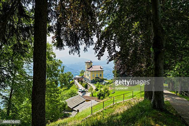 monte bre on lugano - syolacan stock pictures, royalty-free photos & images
