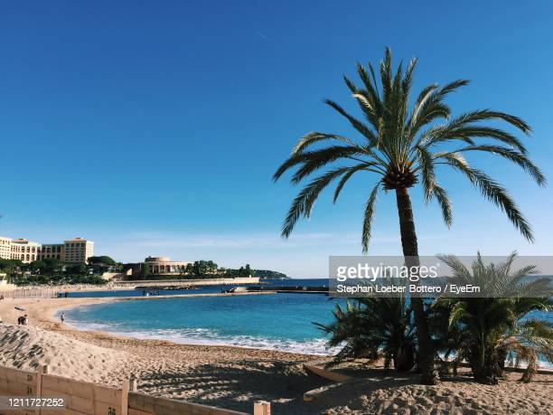 monte carlo beach on a sunny day - monte carlo stock pictures, royalty-free photos & images
