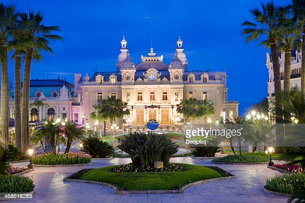 monte carlo casino and the jardin exotique in monaco - monaco stock pictures, royalty-free photos & images