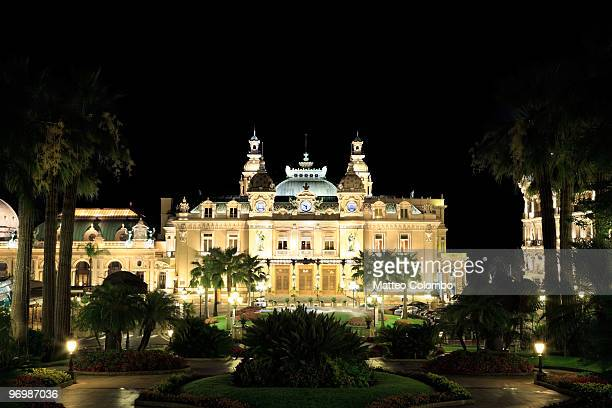monte carlo casino at night - monaco stock pictures, royalty-free photos & images