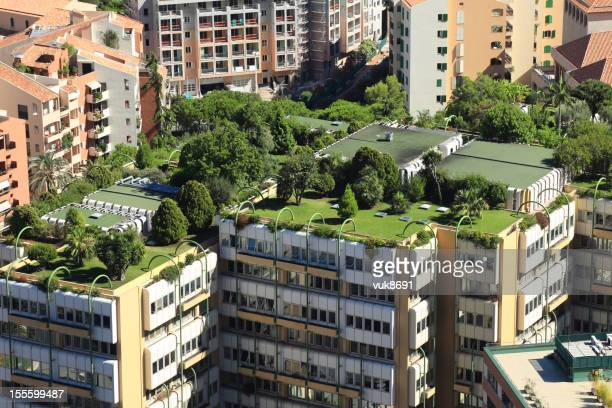 monte carlo city roofs - roof stock photos and pictures