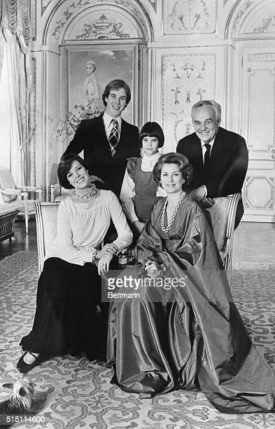 Official picture of the Monaco Reigning Family taken for the twentieth anniversary of the sovereigns' wedding Seated from left to right Princess...