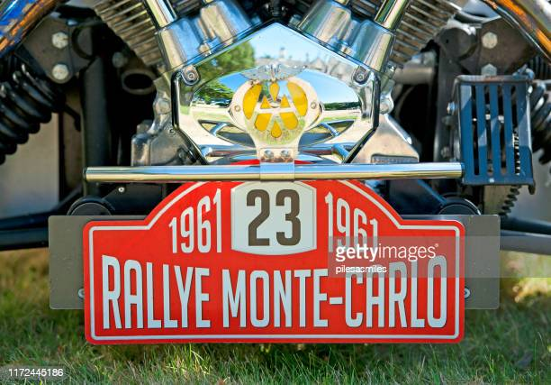 monte carlo rally entrant badge on vintage car, england, uk - monte carlo rally stock pictures, royalty-free photos & images