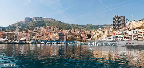 monte carlo waterfront panorama, monaco - monaco stock pictures, royalty-free photos & images