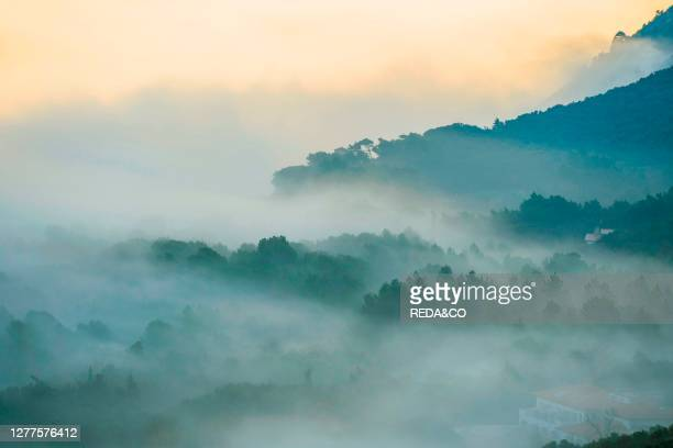 Monte Conero National Park. View of Portonovo with Fog. Ancona. Marche. Italy. Europe.