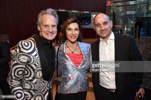 Monte Durham, Hilary Farr, and David Visentin attend the Discovery Upfront 2018 at the Alice Tully Hall at Lincoln Center on April 10, 2018 in New...