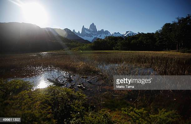 Monte Fitz Roy stands in Los Glaciares National Park part of the Southern Patagonian Ice Field on December 1 2015 in Santa Cruz Province Argentina...
