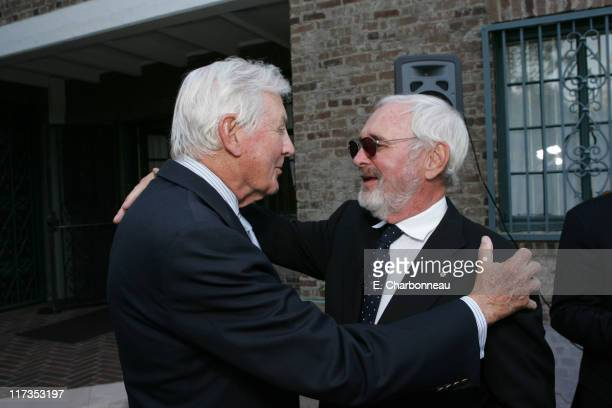 Monte Hall and Norman Jewison during Norman Jewison Book Signing Hosted by Alain Dudoit, Consul General of Canada at Canadian Residence in Los...