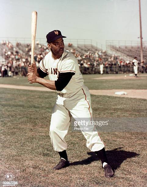 Monte Irvin of the New York Giants poses for an action portrait Irvin played for the Giants from 19491955