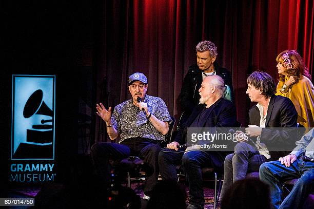Monte Melnick Billy Idol Ed Stasium Mickey Leigh and Linda Ramone speak during Hey Ho Let's Go Celebrating 40 Years of the Ramones at The GRAMMY...
