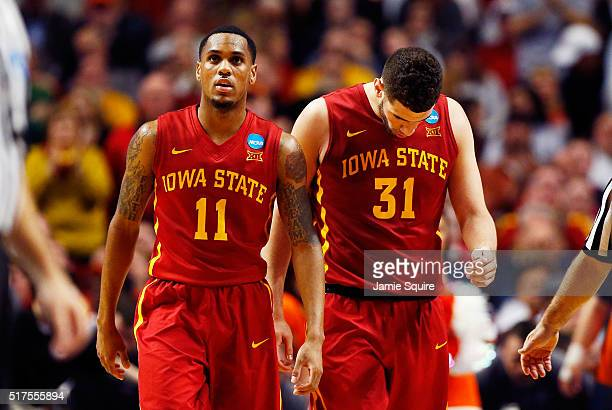 Monte Morris and Georges Niang of the Iowa State Cyclones reacts in the second half against the Virginia Cavaliers during the 2016 NCAA Men's...