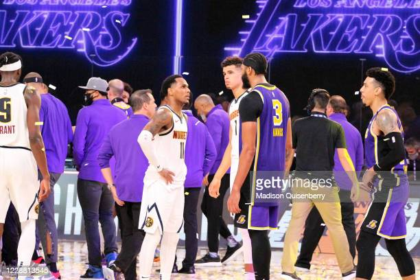 Monte Morris of the Denver Nuggets and Anthony Davis of the Los Angeles Lakers talk Game Five of the Western Conference Finals of the NBA Playoffs on...