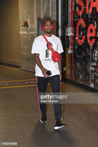 Monte Morris of the Denver Nuggets arrives to the arena before a game against the LA Clippers on October 17 2018 at Staples Center in Los Angeles...