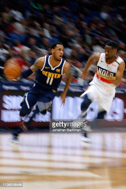 Monte Morris of the Denver Nuggets drives against Ian Clark of the New Orleans Pelicans during the second half at the Smoothie King Center on January...