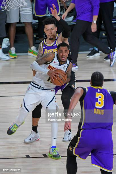 Monte Morris of the Denver Nuggets handles the ball against the Los Angeles Lakers during Game Five of the Western Conference Finals of the NBA...
