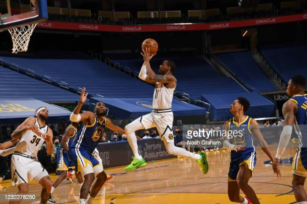 Monte Morris of the Denver Nuggets shoots the ball during the game against the Golden State Warriors on April 12, 2021 at Chase Center in San...