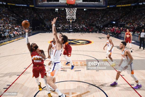 Monte Morris of the Denver Nuggets shoots the ball during the game against the Phoenix Suns during Round 2, Game 4 of the 2021 NBA Playoffs on June...