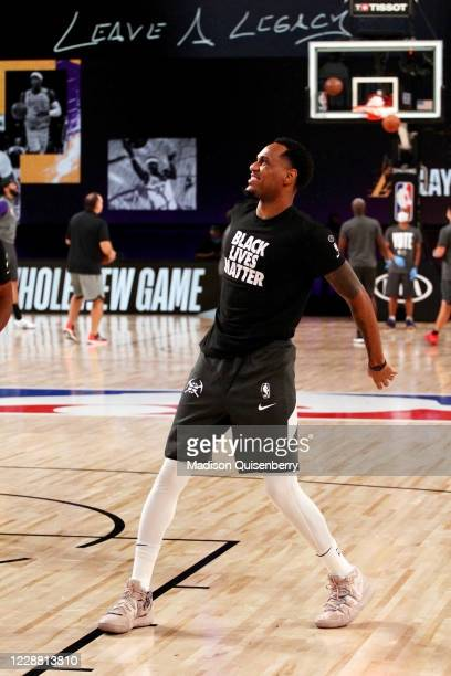 Monte Morris of the Denver Nuggets warms up before the game against the Los Angeles Lakers during Game Five of the Western Conference Finals of the...