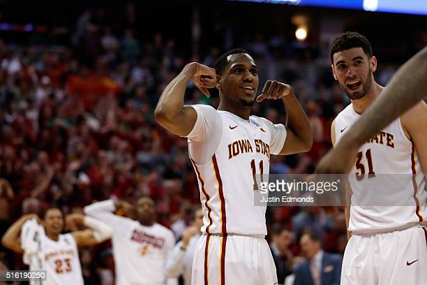 Monte Morris of the Iowa State Cyclones reacts during the game against the Iona Gaels during the first round of the 2016 NCAA Men's Basketball...