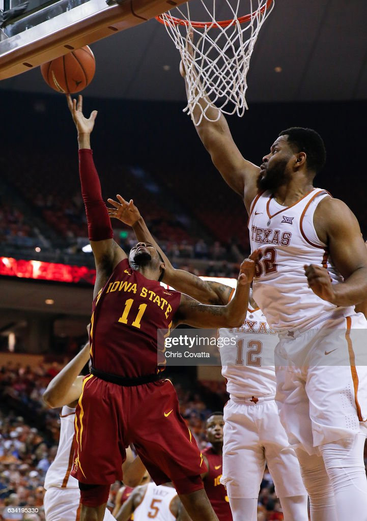Monte Morris #11 of the Iowa State Cyclones shoots the ball against Shaquille Cleare #32 of the Texas Longhorns at the Frank Erwin Center on February 7, 2017 in Austin, Texas.