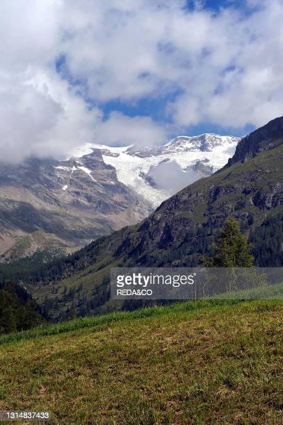 Monte Rosa View From Biel Village. Near Gressoney La Trinité. Gressoney Valley Or Lys Valley. Aosta Valley. Italy.