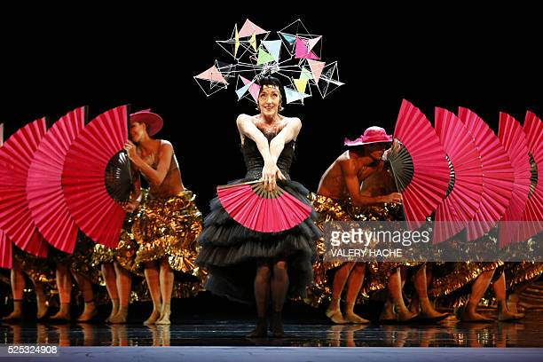 MonteCarlo ballet Belgian dancer Bernice Coppieters performs in the show Chapeau a creation of Jiri Kylian at the Grimaldi Forum on April 27 2016 in...
