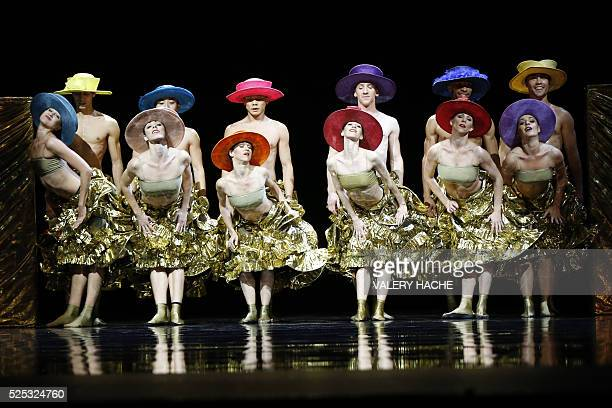 MonteCarlo ballet dancers perform in the show Chapeau a creation of Jiri Kylian at the Grimaldi Forum on April 27 2016 in Monaco / AFP / VALERY HACHE