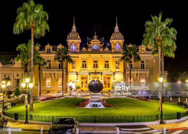 montecarlo casino at night. monaco - monte carlo stock pictures, royalty-free photos & images