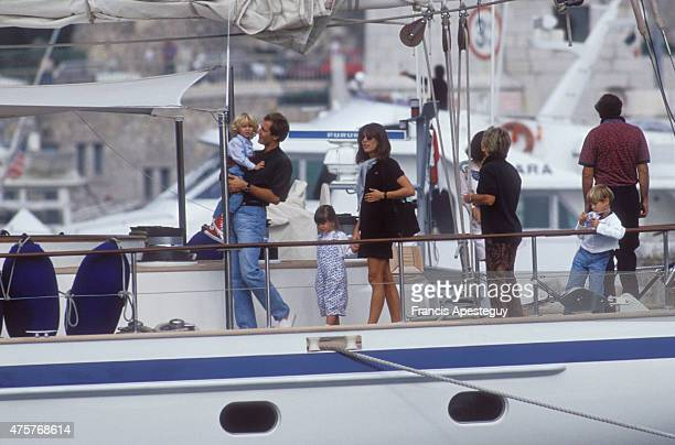 MonteCarlo Monaco Princess Caroline of Monaco with Stefano Casiraghi and Andrea Charlotte Pierre Casiraghi