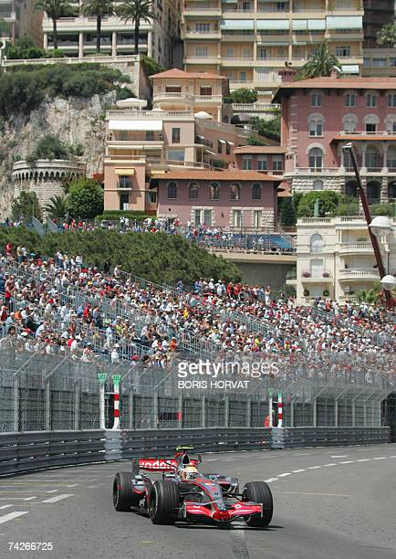 British McLarenMercedes driver Lewis Hamilton drives at the Monaco racetrack 24 May 2007 in Monte Carlo during the second practise session of the...