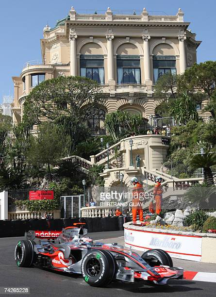 Spanish McLaren-Mercedes driver Fernando Alonso drives at the Monaco racetrack, 24 May 2007 in Monte Carlo, during the first practise session of the...