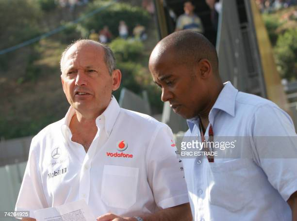 Team principal of the McLarenMercedez Formula One team Ron Dennis chats with Anthony Hamilton father of British McLarenMercedes driver Lewis Hamilton...