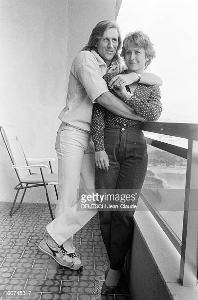 Montecarlo Tennis Tournament 1980 En mai 1980 lors du tournoi de tennis de Monte Carlo Bjorn BORG et sa fiancée Marianna SIMONESCU posent enlacés sur...