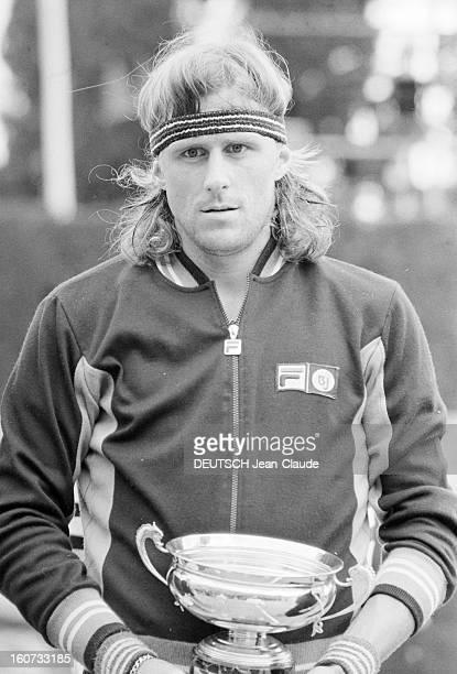 Montecarlo Tennis Tournament 1980 En mai 1980 à MonteCarlo finale du tournoi de tennis Sur le court Bjorn BORG le vainqueur et sa coupe