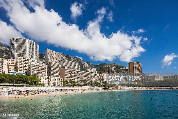 montecarlo, view of larvotto beach - monte carlo stock pictures, royalty-free photos & images